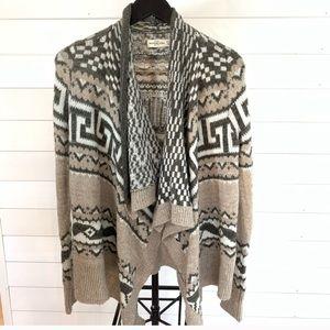 Abercrombie & Fitch beige wool draped cardigan